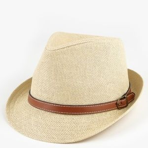 Classic Fedora with Faux Leather Belted Ac…
